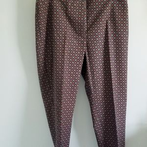Talbots tie print red, yellow, blueankle pants 8